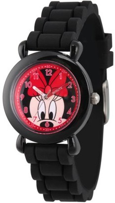 Disney Minnie Mouse Girls' Black Plastic Time Teacher Watch, Black Silicone Strap