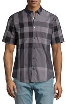 Burberry Fred Exploded-Check Woven Shirt, Charcoal
