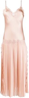 Alberta Ferretti floral lace inserts slip dress