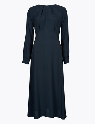 Marks and Spencer Round Neck Midi Fit & Flare Dress