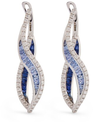 Kavant & Sharart White Gold, Diamond and Sapphire Talay Wave Earring