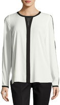 T Tahari Cassy Colorblock Silky Blouse, Black/White
