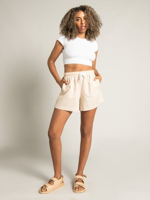 Nude Lucy Cameron Basic Waffle Crop T-Shirt in White