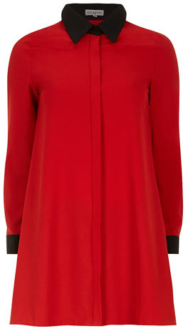 Dorothy Perkins Red contrast swing shirt dress