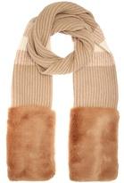 Stella McCartney Faux Fur-trimmed Virgin Wool Scarf