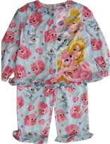 Disney Little Girls Blue Cinderella Aurora Print 2 Pc Pajama Set