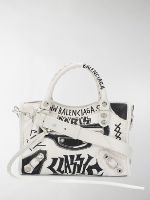 Balenciaga Graffiti Print Tote Bag