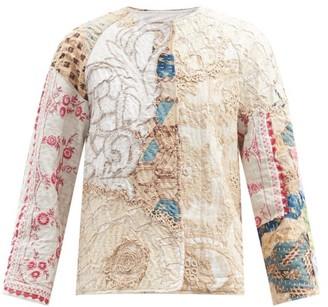 By Walid Ilana Collarless Floral-embroidered Cotton Jacket - White Multi