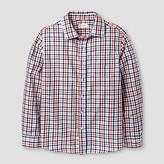 Cat & Jack Boys' Plaid Long Sleeve Button Down Shirt Cat & Jack - Navy/Orange Smoothie