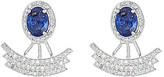Forever Creations Usa Inc. Forever Creations Silver 4.40 Ct. Tw. Diamond & Blue Sapphire Ear Jackets