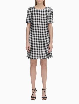Gingham Short Sleeve Shift Dress