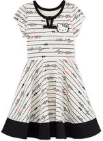 Hello Kitty Striped Fit and Flare Dress, Toddler and Little Girls (2T-6X)