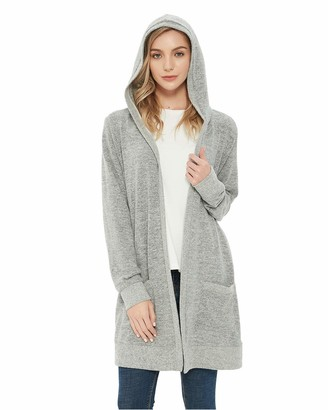 Awesome 360 Women's Open Front Knit Cardigans Hooded Sweater Casual Long Sleeve Loungewear with Pockets