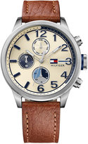 Tommy Hilfiger Men's Casual Sport Brown Leather Strap Watch 44mm 1791239