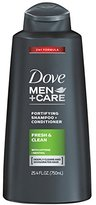 Dove Men+Care 2 in 1 Shampoo and Conditioner, Fresh and Clean 25.4 Ounce, (Pack of 4)