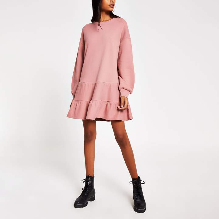 River Island Womens Pink long sleeve mini smock sweatshirt dress