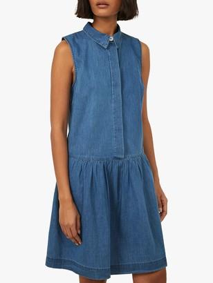 Warehouse Drop Hem Sleevless Denim Dress, Mid Wash Denim