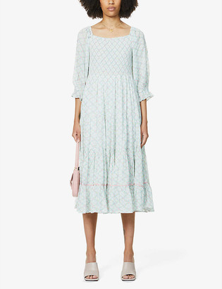 LoveShackFancy Rigby floral-print cotton midi dress