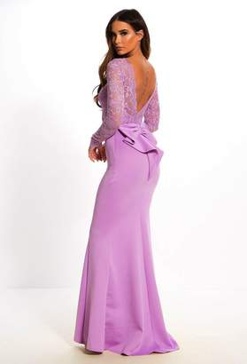 Pink Boutique Addicted To Love Lilac Lace Long Sleeve Bow Back Maxi Dress