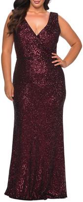 La Femme Plus Size V-Neck Sleeveless Sequin Column Gown