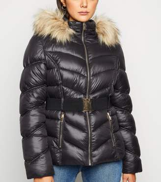 New Look Cameo Rose Faux Fur Trim Belted Puffer Jacket