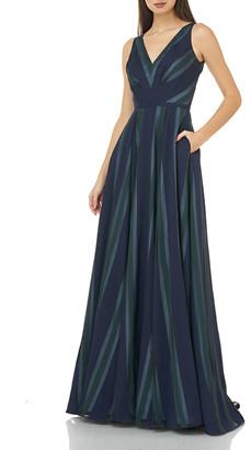 Carmen Marc Valvo Chevron Stripe V-Neck Sleeveless A-Line Gown