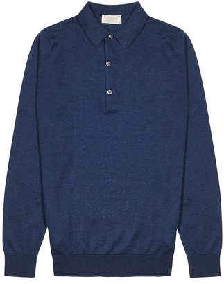 John Smedley Lanlay navy cotton-blend polo shirt