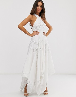 Asos Edition EDITION cutwork maxi dress with cutout sides-Beige