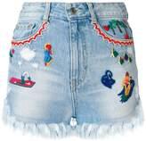 Sjyp embroidered denim shorts