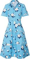 Draper James Crochet-trimmed Floral-print Cotton-piqué Dress - Azure