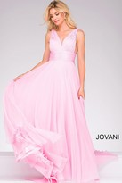 Jovani Long Chiffon V-neck Prom Dress 45726
