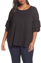 Sejour Plus Size Women's Double Ruffle Sleeve Top