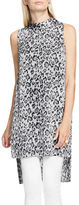 Vince Camuto Leopard Flurry Sleeveless Mockneck Long Tunic