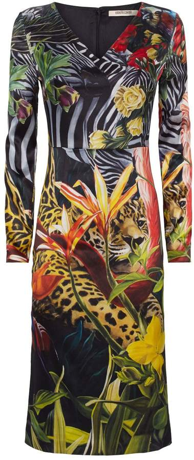 Roberto Cavalli Paradise Found Long-Sleeved Dress