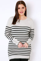Yours Clothing Grey Marl & Black Stripe Jumper With Button Cuffs