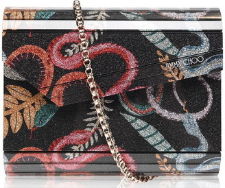 Jimmy Choo Candy Acrylic Fine Glitter Serpent Print Bag