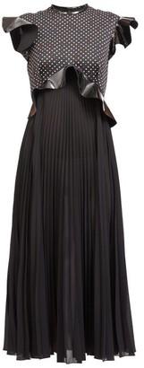 Christopher Kane Ruffled Polka-dot Boucle, Pvc & Crepe Midi Dress - Black
