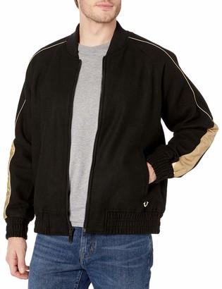 True Religion Men's Long Sleeve Ragland Varsity Jacket