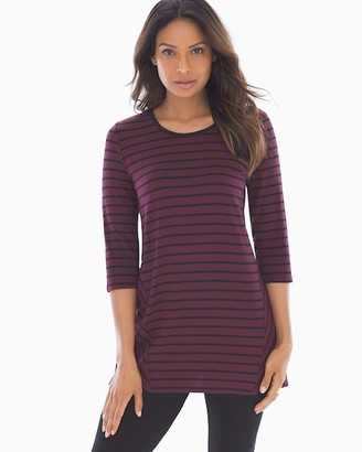 Soma Intimates Soft Jersey Split Back 3/4 Sleeve Tunic Aerial Stripe Merlot