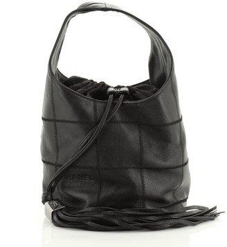 Chanel Square Stitch Tassel Hobo Quilted Leather Small