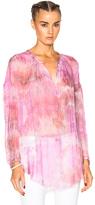 Raquel Allegra Shirred Fuchsia Tunic in Pink,Ombre & Tie Dye.