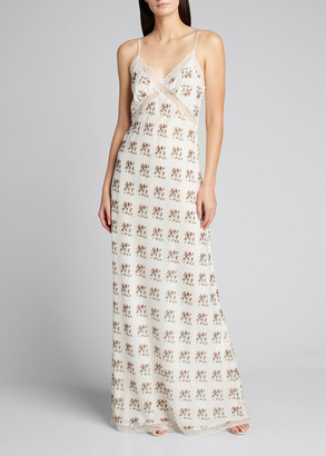 Brock Collection Floral Spaghetti-Strap Sweetheart Dress