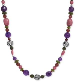 """Carolyn Pollack Multi-Gemstone Beaded Statement Necklace in Sterling Silver, 32"""" + 2"""" extender"""