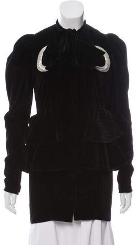 ATTICO Velvet Pinstripe Jacket Black Velvet Pinstripe Jacket
