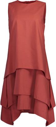 Brunello Cucinelli Terracotta Tiered Crewneck Mini Dress