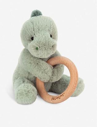 Jellycat Shooshu dino wooden ring soft toy 14cm