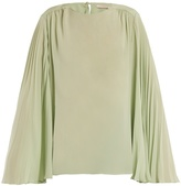 Christopher Kane Pleated-sleeve crepe de Chine top