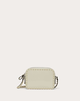 Valentino Small Rockstud Patent Leather Crossbody Bag Women Light Ivory 100% Pelle Di Vitello - Bos Taurus OneSize
