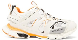 Balenciaga Track Leather And Mesh Low Top Trainers - Mens - White