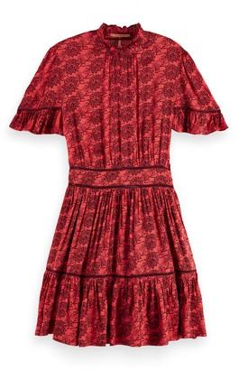 Scotch & Soda Printed Stand Collar Dress
